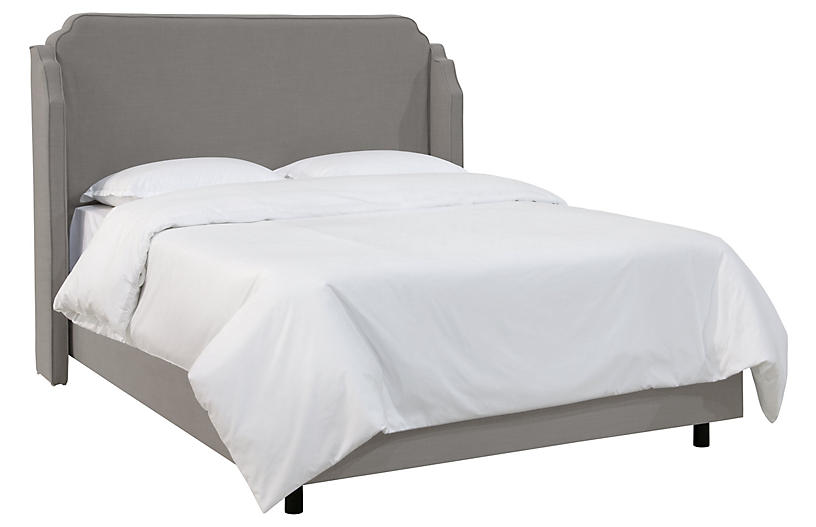 Aurora Wingback Bed, Gray