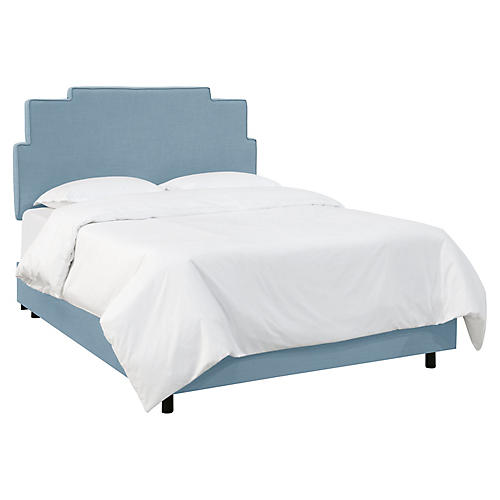 Paxton Bed, Denim Linen