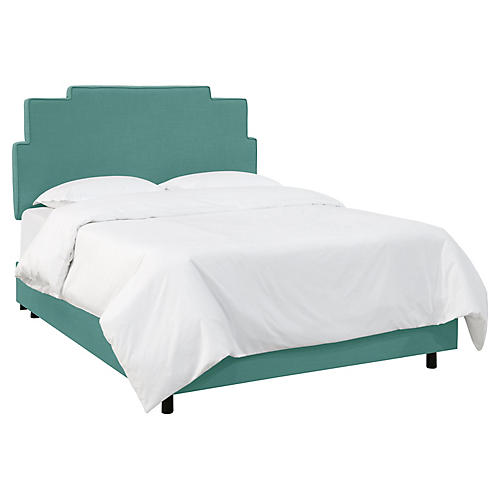 Paxton Bed, Teal Linen