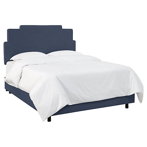 Paxton Bed, Navy Linen