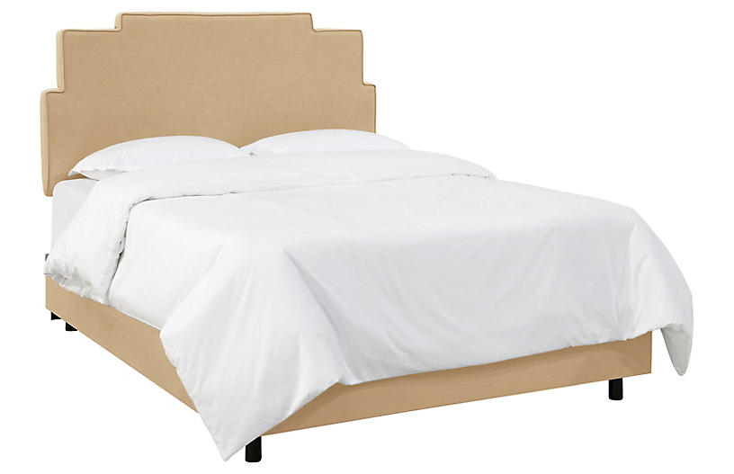 Paxton Bed, Sand Linen