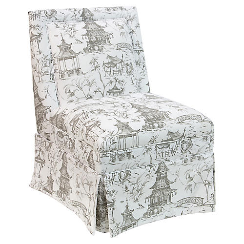 Greer Skirted Slipper Chair, Pagoda Park