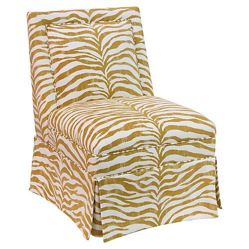 Greer Skirted Slipper Chair, Ochre Zebra