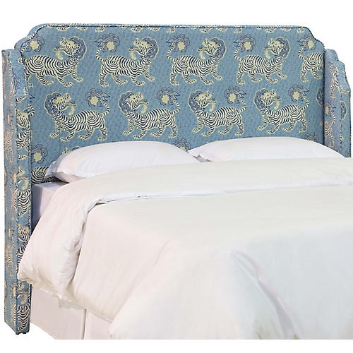 Aurora Wingback Headboard, Blue Lion