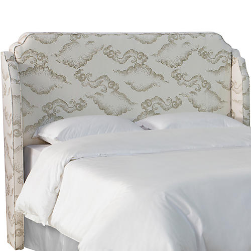 Aurora Wingback Headboard, Clouds