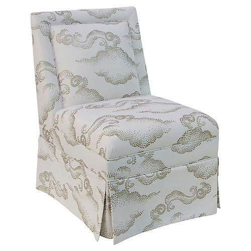 Greer Skirted Slipper Chair, Clouds