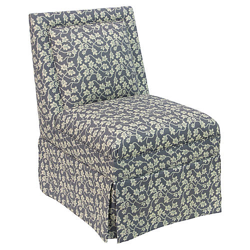 Greer Skirted Slipper Chair, Slate Vine