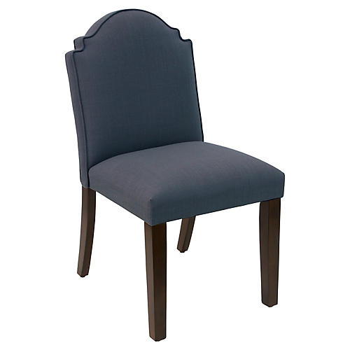 Elloree Side Chair, Navy Linen