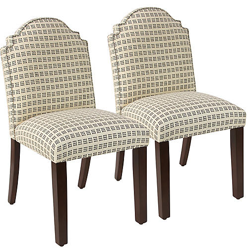 S/2 Elloree Side Chairs, Window Dot Linen