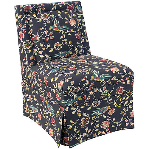 Greer Skirted Slipper Chair, Mirabeau
