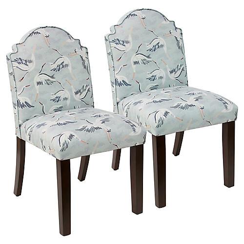 S/2 Elloree Side Chairs, Cranes Linen