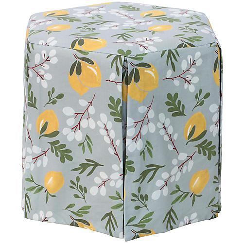 Savannah Skirted Ottoman, Lemon Blossom Linen