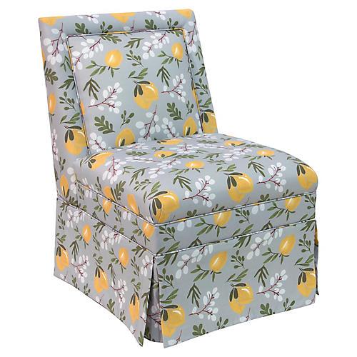 Greer Skirted Slipper Chair, Lemon Blossom Linen