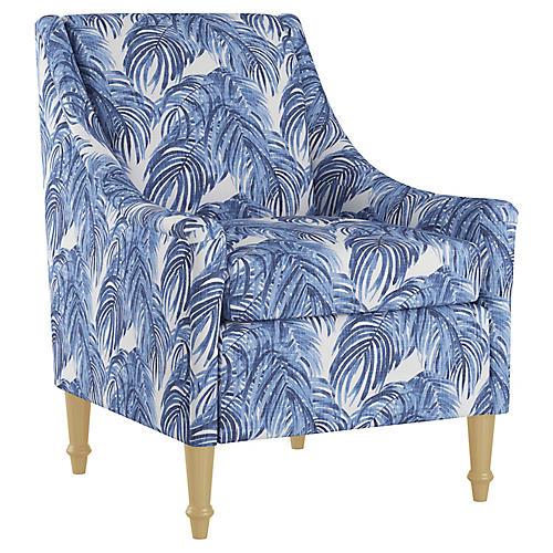 Holmes Accent Chair, Blue Palm