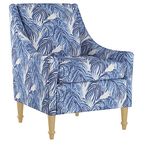 Holmes Accent Chair, Blue Palm