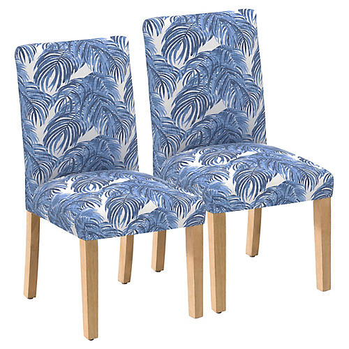 S/2 Shannon Side Chairs, Blue Palm