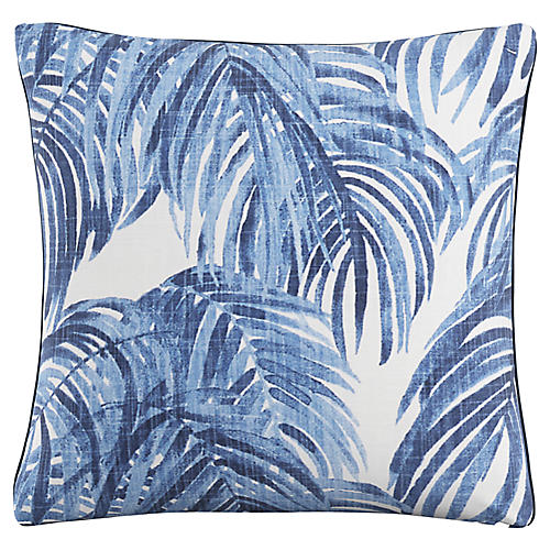 Beni 20x20 Pillow, Blue Palm