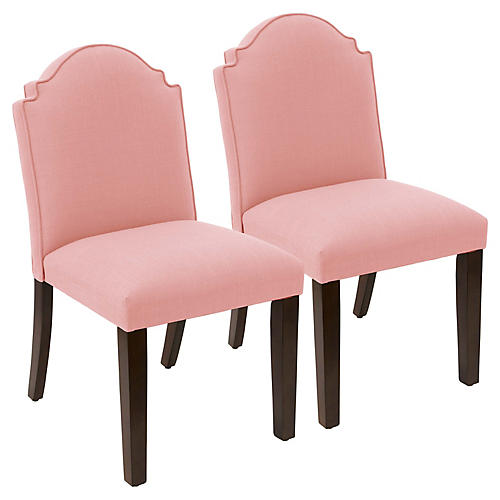 S/2 Elloree Side Chairs, Petal Linen
