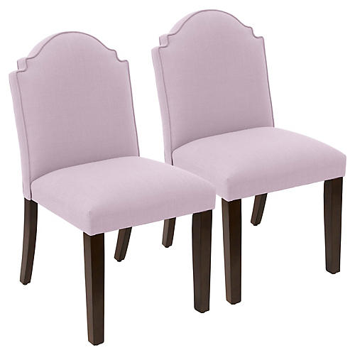 S/2 Elloree Side Chairs, Lilac Linen