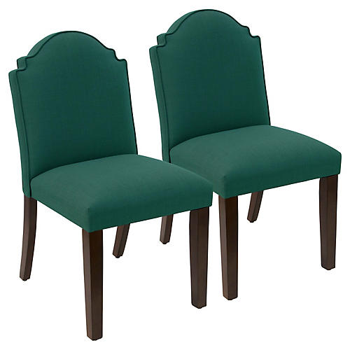S/2 Elloree Side Chairs, Forest Linen