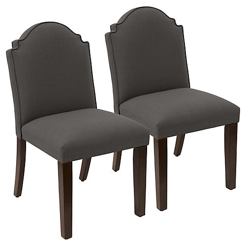 S/2 Elloree Side Chairs, Charcoal Linen