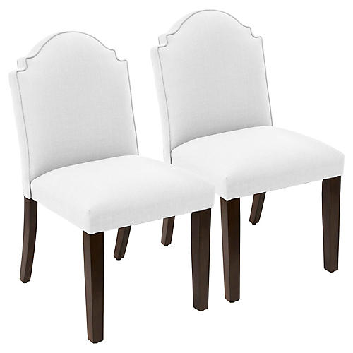 S/2 Elloree Side Chairs, White