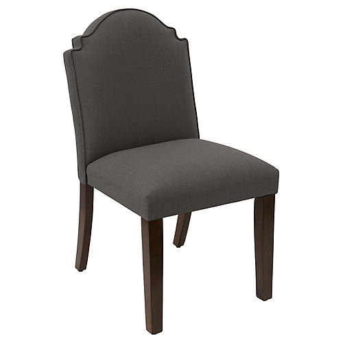 Elloree Side Chair, Charcoal Linen