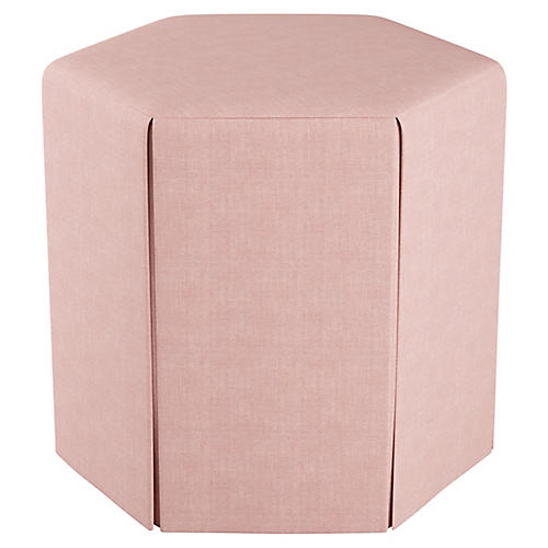 Savannah Skirted Ottoman, Blush