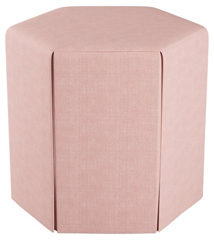 Savannah Skirted Ottoman, Blush - Poufs - Ottomans, Poufs & Stools ...