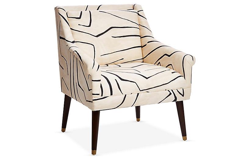 Carson Accent Chair, Sand/Black