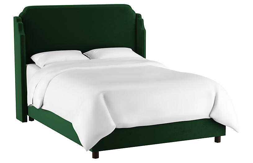 Aurora Wingback Bed, Emerald Velvet