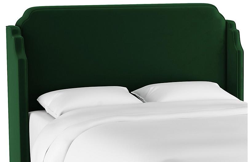 Aurora Wingback Headboard, Emerald Velvet