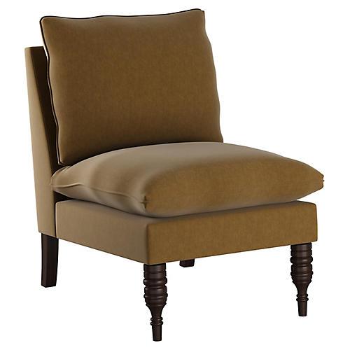 Daphne Slipper Chair, Sand Velvet