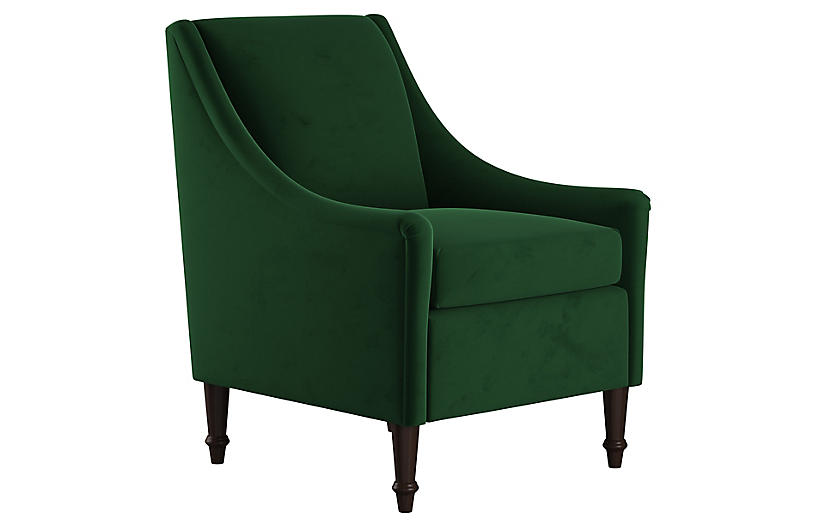 Holmes Accent Chair, Emerald Velvet