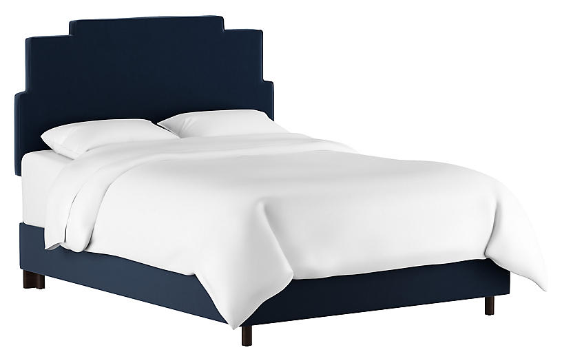 Paxton Bed, Navy Velvet