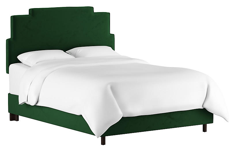 Paxton Bed, Emerald Velvet