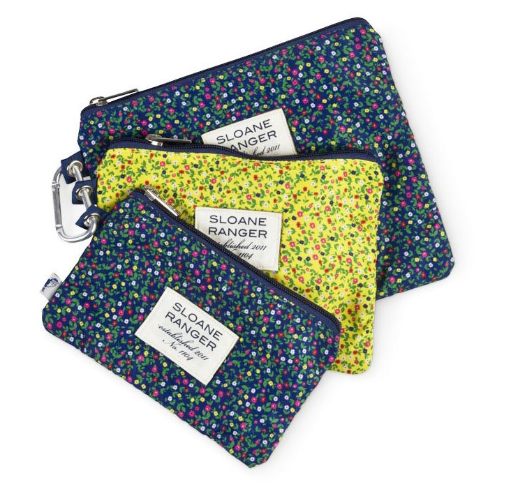 S/3 Floral Cosmetic Bags, Navy/Yellow
