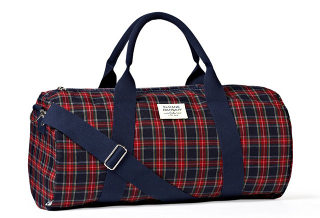 Traditional Plaid Duffel, Red/Navy