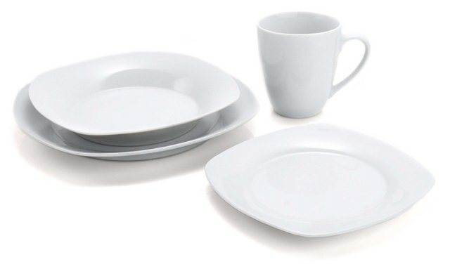 16-Pc Porcelain Square Dinnerware Set
