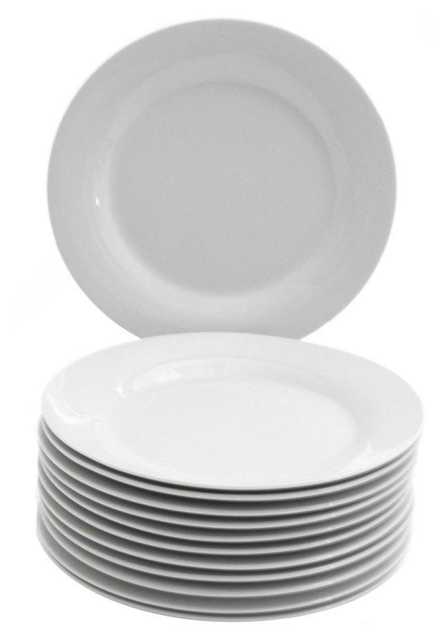 S/12 Porcelain Dessert Plates, White