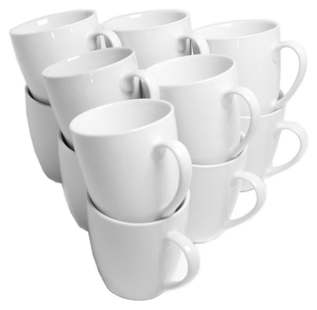 S/12 Porcelain Mugs, White