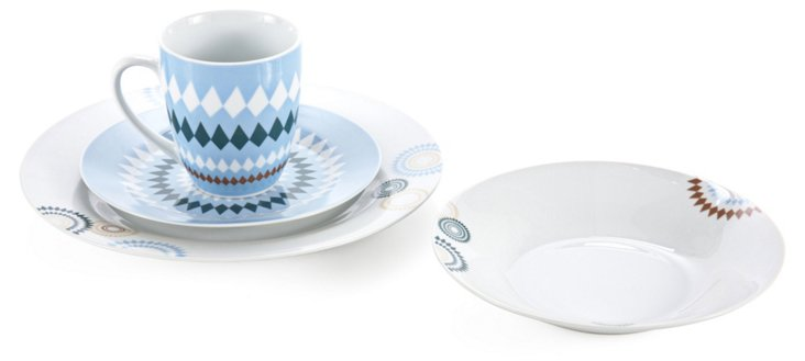 16-Pc Porcelain Diamonte Dinnerware Set