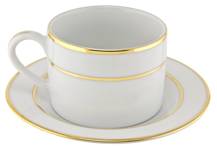 S/6 Double Gold Line Cups w/ Saucers