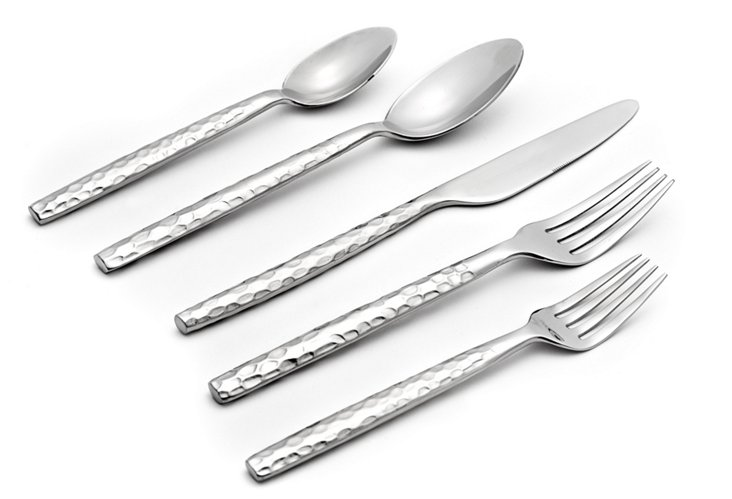 20-Pc Hammered Forged Flatware Set