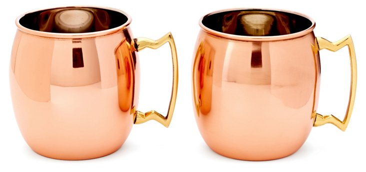 S/2 Copper Moscow Mule Mugs