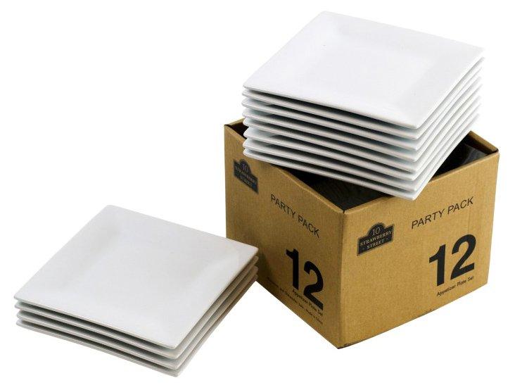 S/12 Porcelain Bread Plates, White
