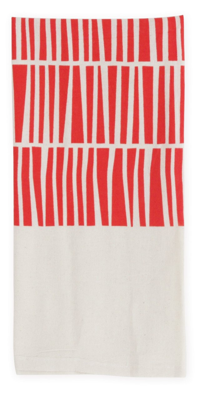 S/2 Keys Flour Sack Towels, Poppy
