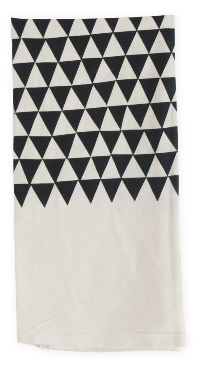 S/2 Triangles Flour Sack Towels, Black