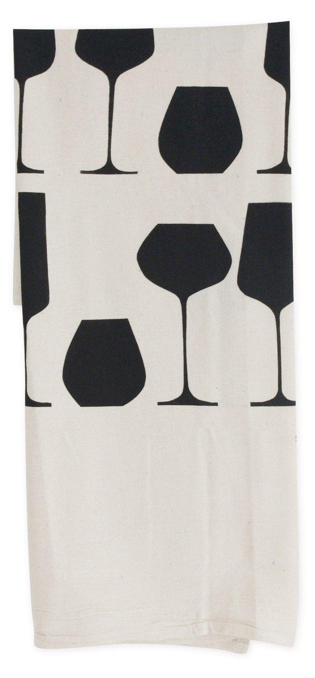 S/2 Vino Flour Sack Towels, Black