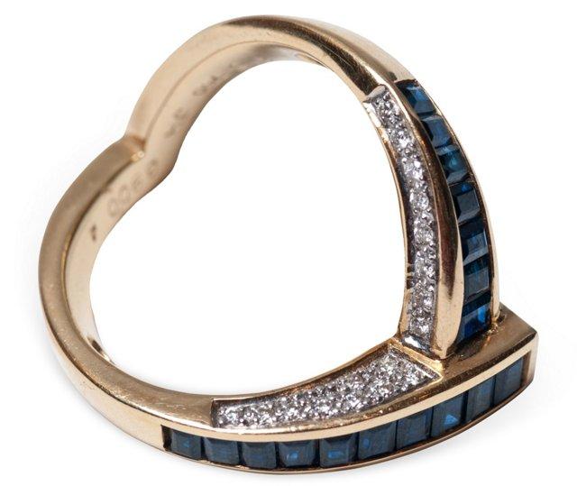 Sapphire 'V' Ring